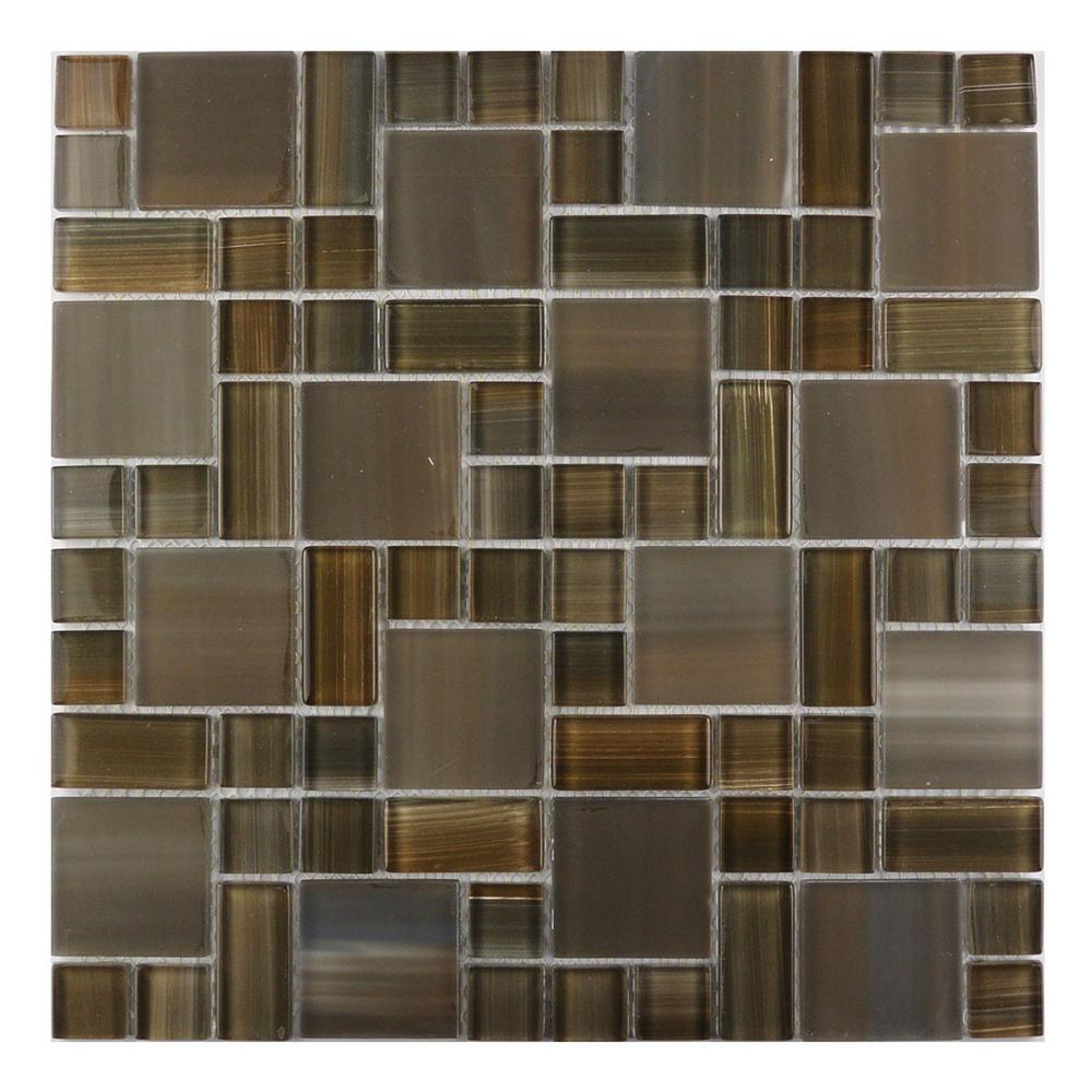 Brown Mosaic 12 in. x 12 in. Blend Glass Mesh Mounted