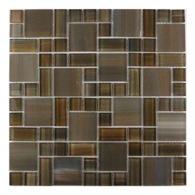 Handicraft II Brown Orange Mix 12 in. x 12 in. Glass Mosaic Tile