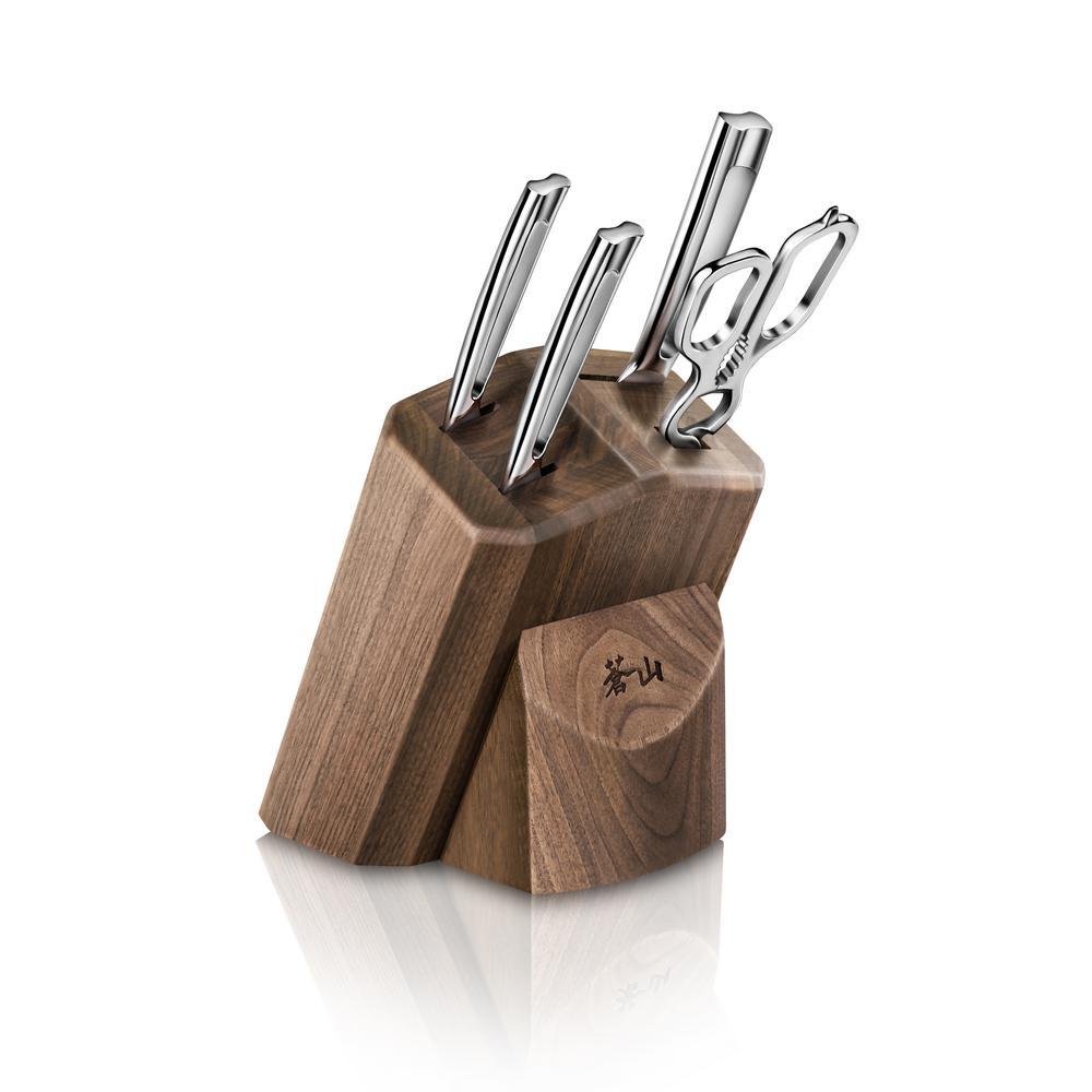 N1 Series German Steel Forged 5-Piece Starter Knife Block Set in Walnut