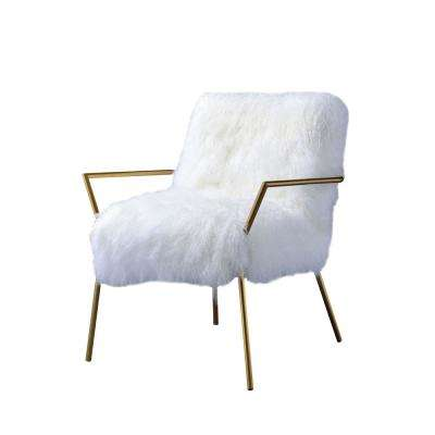 Badgley White Tibet Wool Arm Chair