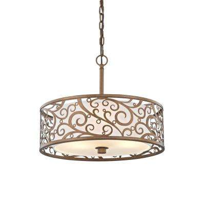 3-Light Burnished Gold Pendant with Light Beige Fabric Shade - Gold - Pendant Lights - Lighting - The Home Depot