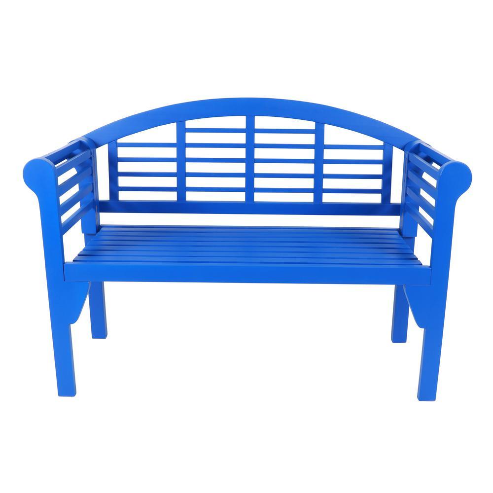 Terra 47 in. Blue Wood Outdoor Bench