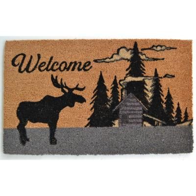 Vinyl Back Mat Moose Silhouette 30 in. x 18 in. Coir Door Mat
