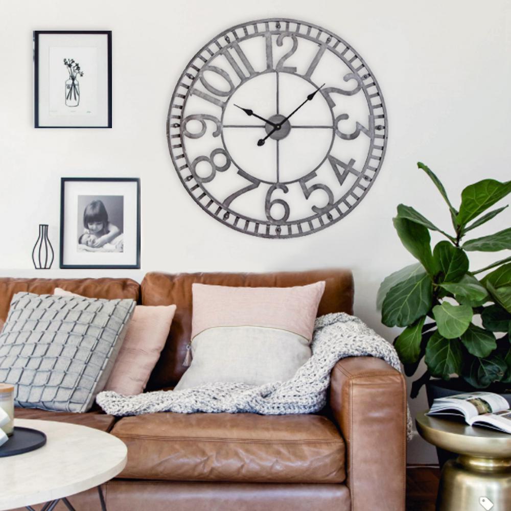 "Utopia Alley Manhattan Industrial Wall Clock, Analog, Pewter, 32"""
