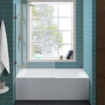 Ivy 60 in. x 30 in. Right Drain Rectangular Alcove Soaking Bathtub with Apron Skirt in White