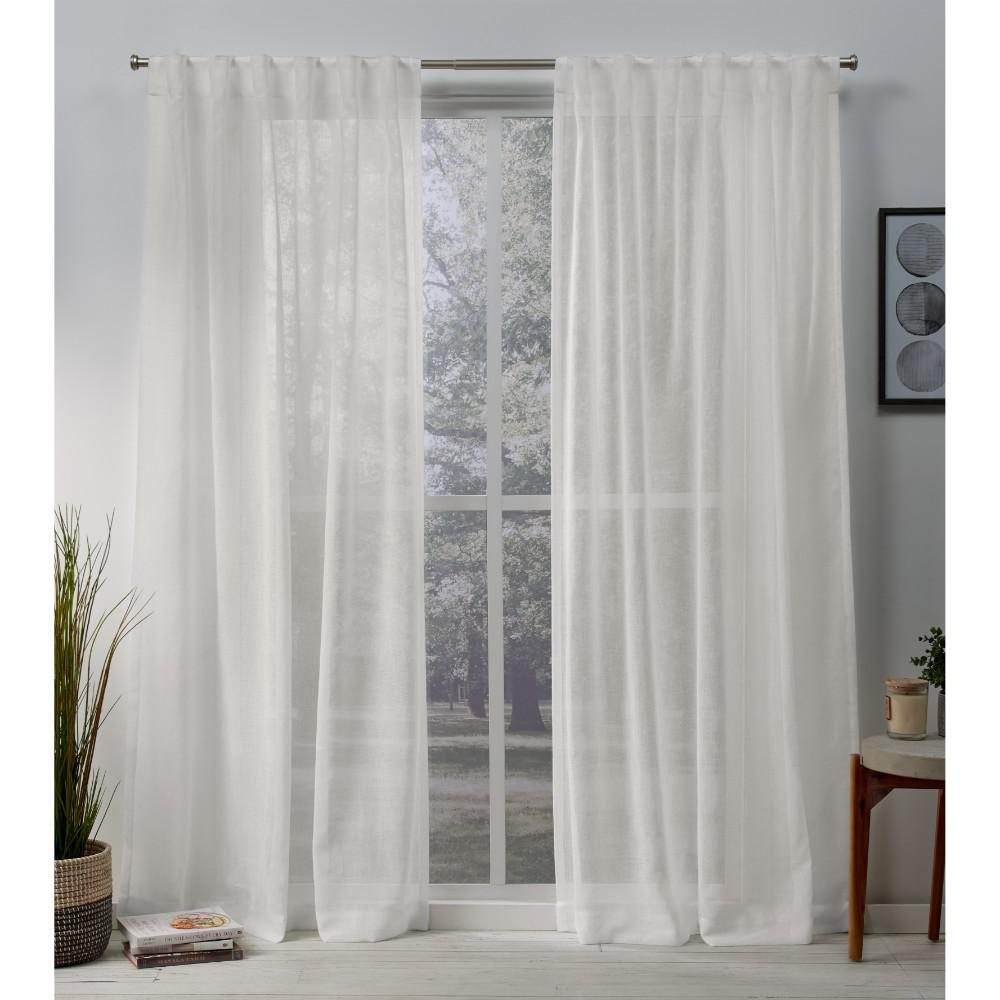 Exclusive Home Curtains Belgian 50 in. W x 108 in. L Sheer Hidden Tab Top Curtain Panel in Snowflake (2 Panels)