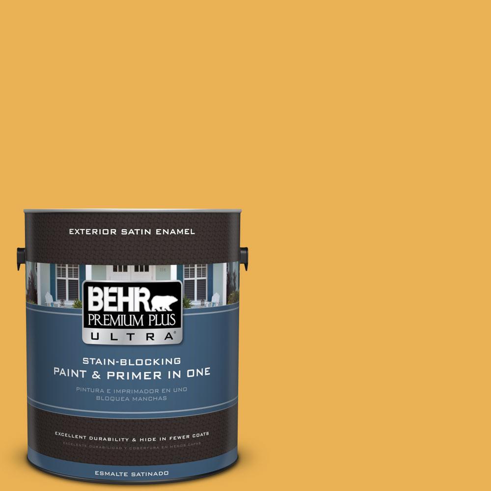 BEHR Premium Plus Ultra 1-gal. #PMD-20 Goldenrod Field Satin Enamel Exterior Paint