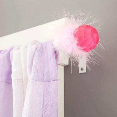 Phoebe 28 in. - 48 in. Telescoping 5/8 in. Curtain Rod Kit in White with Pink Faceted Ball Finial