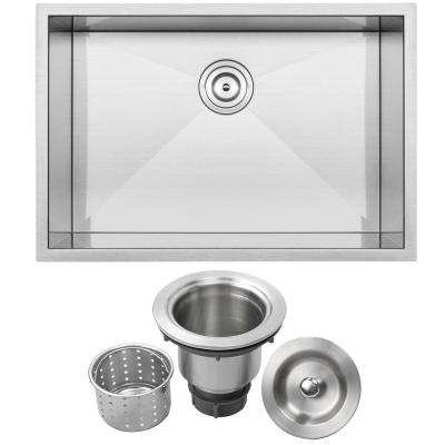 Pacific Zero Radius Undermount 16-Gauge Stainless Steel 28 in. Single Basin Kitchen Sink with Basket Strainer
