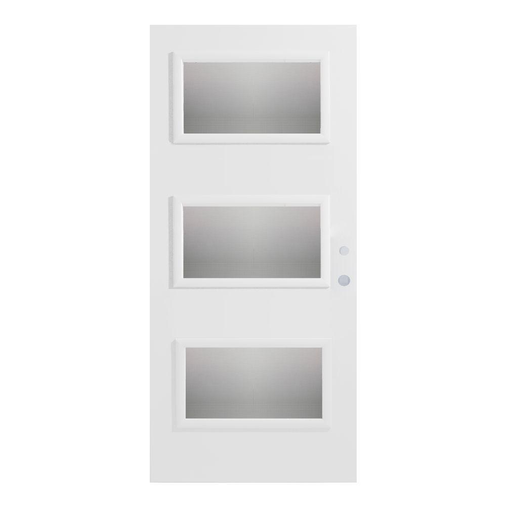 Stanley Doors 36 in. x 80 in. Dorothy Screen 3 Lite Painted White Steel Prehung Front Door