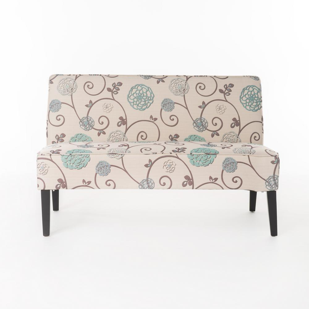 Noble House Nathaniel White And Blue Floral Fabric Love Seat