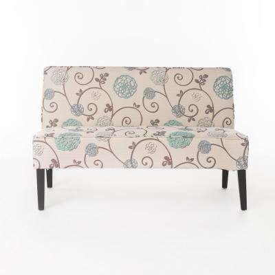 Nathaniel White and Blue Floral Fabric Love Seat