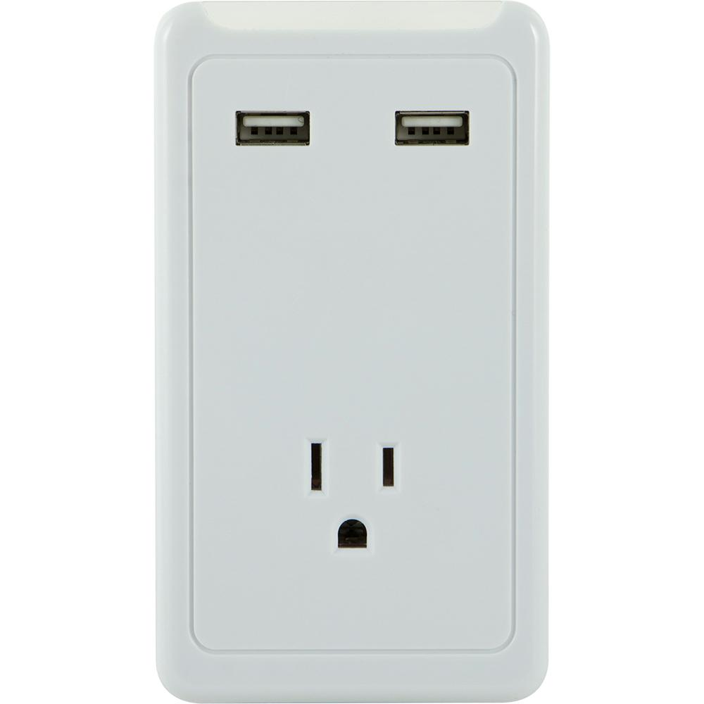 1-Outlet and 2-USB Port 1.0 Amp Tap, White