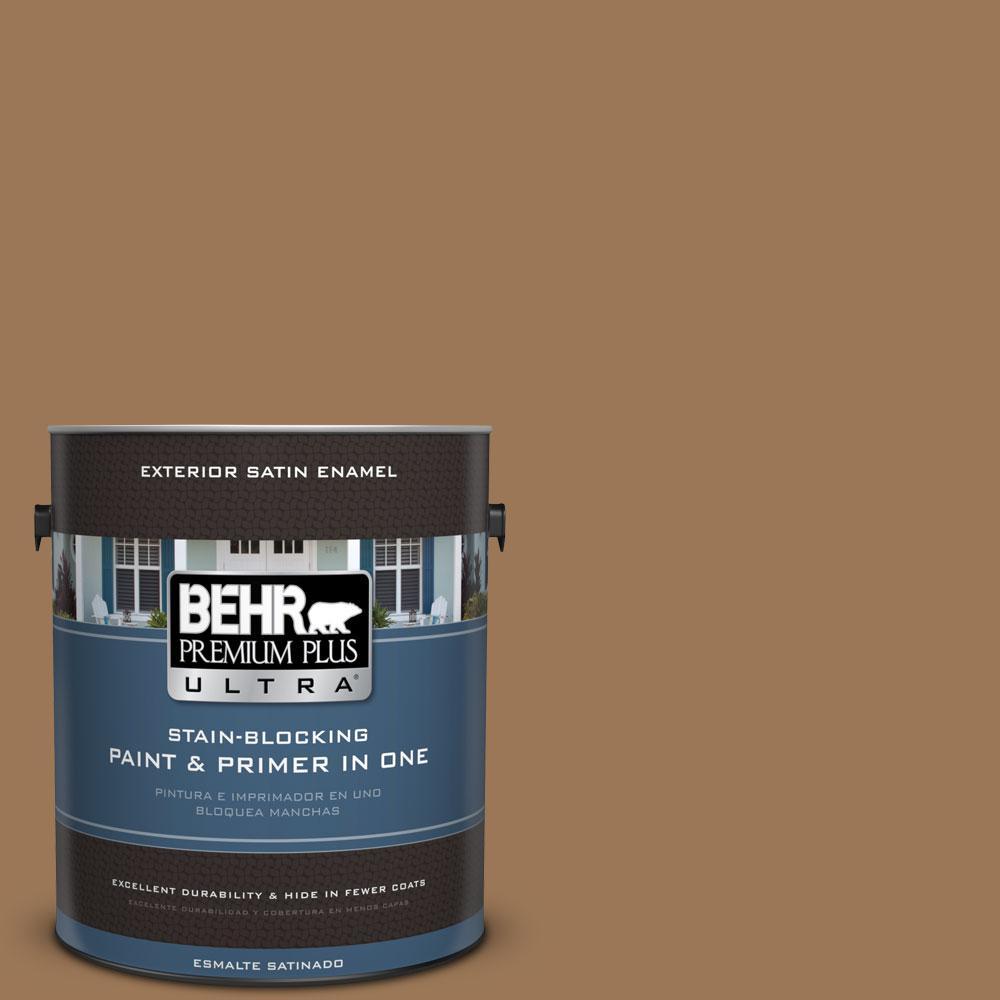 BEHR Premium Plus Ultra 1-gal. #PPU4-2 Coco Rum Satin Enamel Exterior Paint