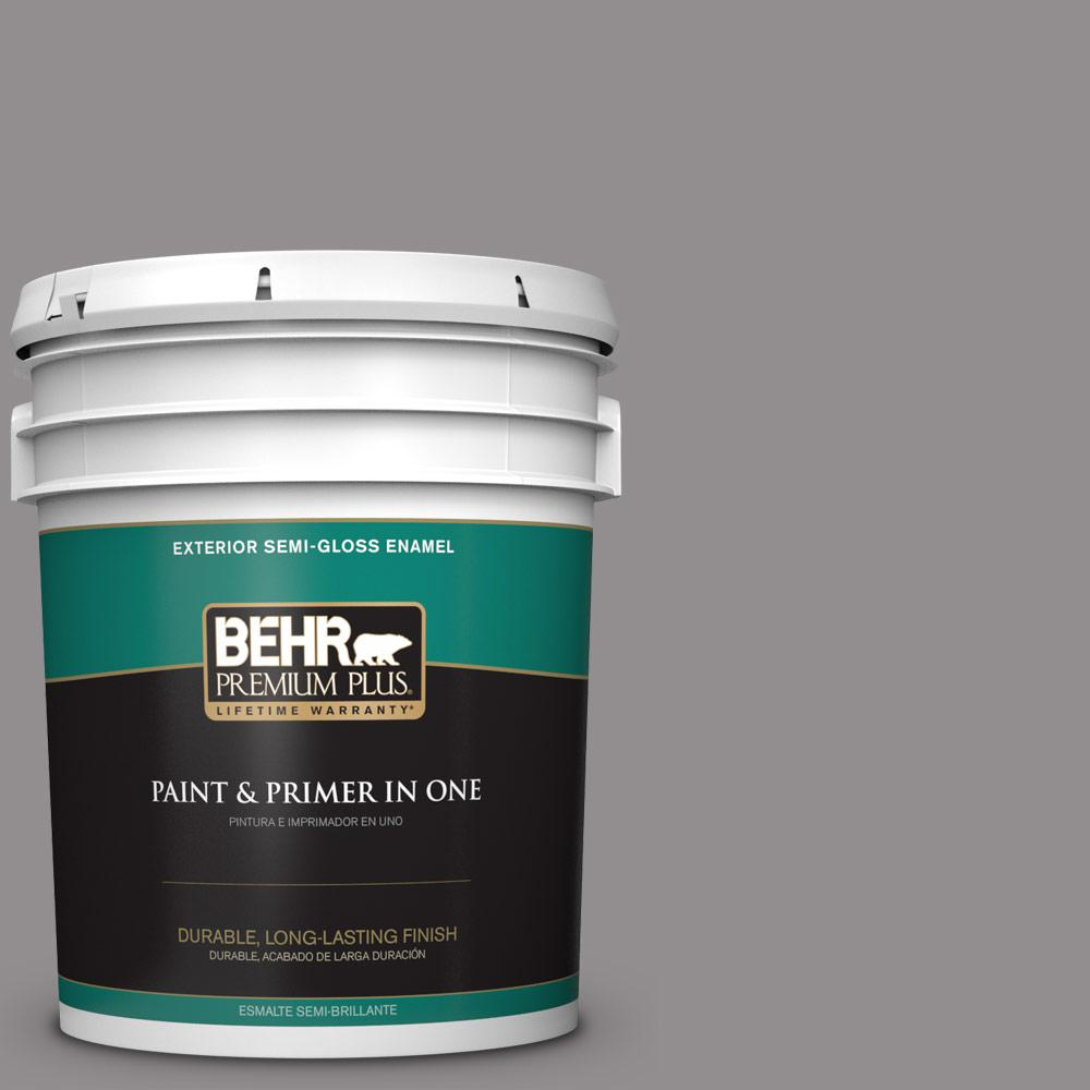 5 gal. #PPU16-14 Plum Smoke Semi-Gloss Enamel Exterior Paint