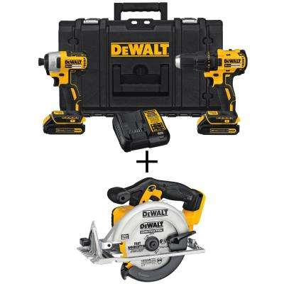 20-Volt MAX Lithium-Ion Cordless Combo Kit (2-Tool) with (2) Batteries 1.3Ah with Case and Bonus Circular Saw
