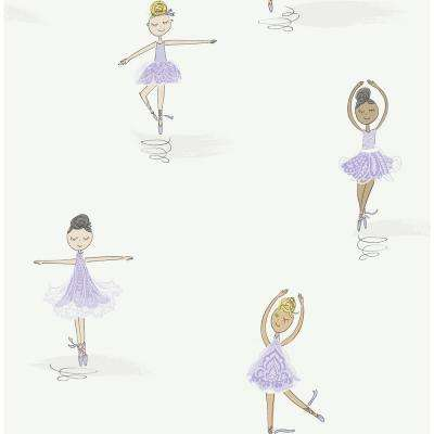 Kids Tiny Dancers Lilac and White Ballerina Wallpaper