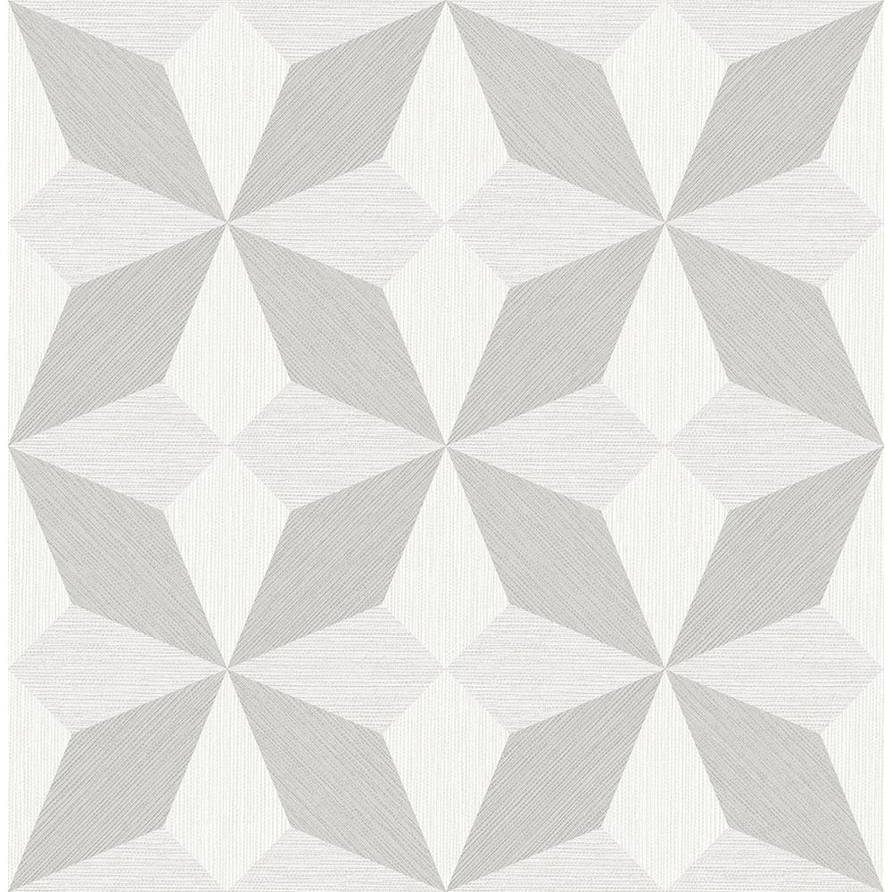 A-Street 56.4 sq. ft. Valiant Off-White Faux Grasscloth Geometric Wallpaper