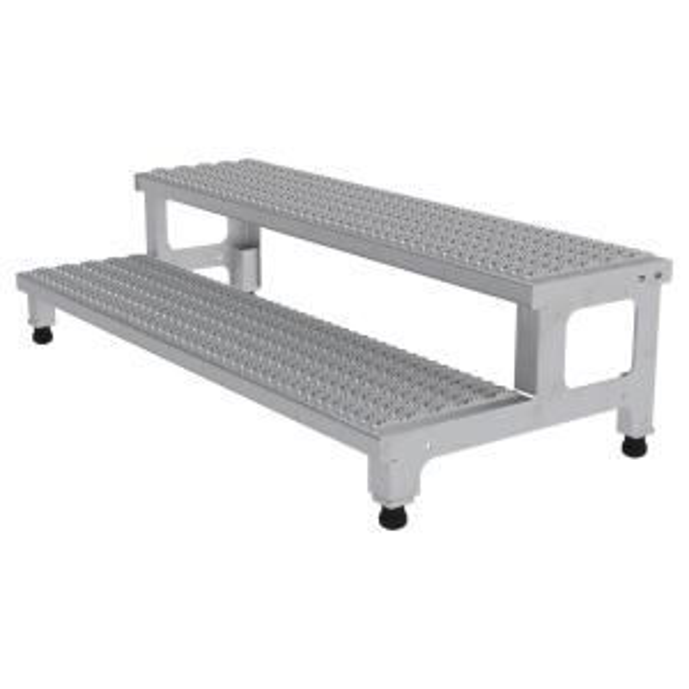 Vestil 48 inch x 24 inch 2-Step Adjustable Stainless Steel Step Mate Stand by Vestil