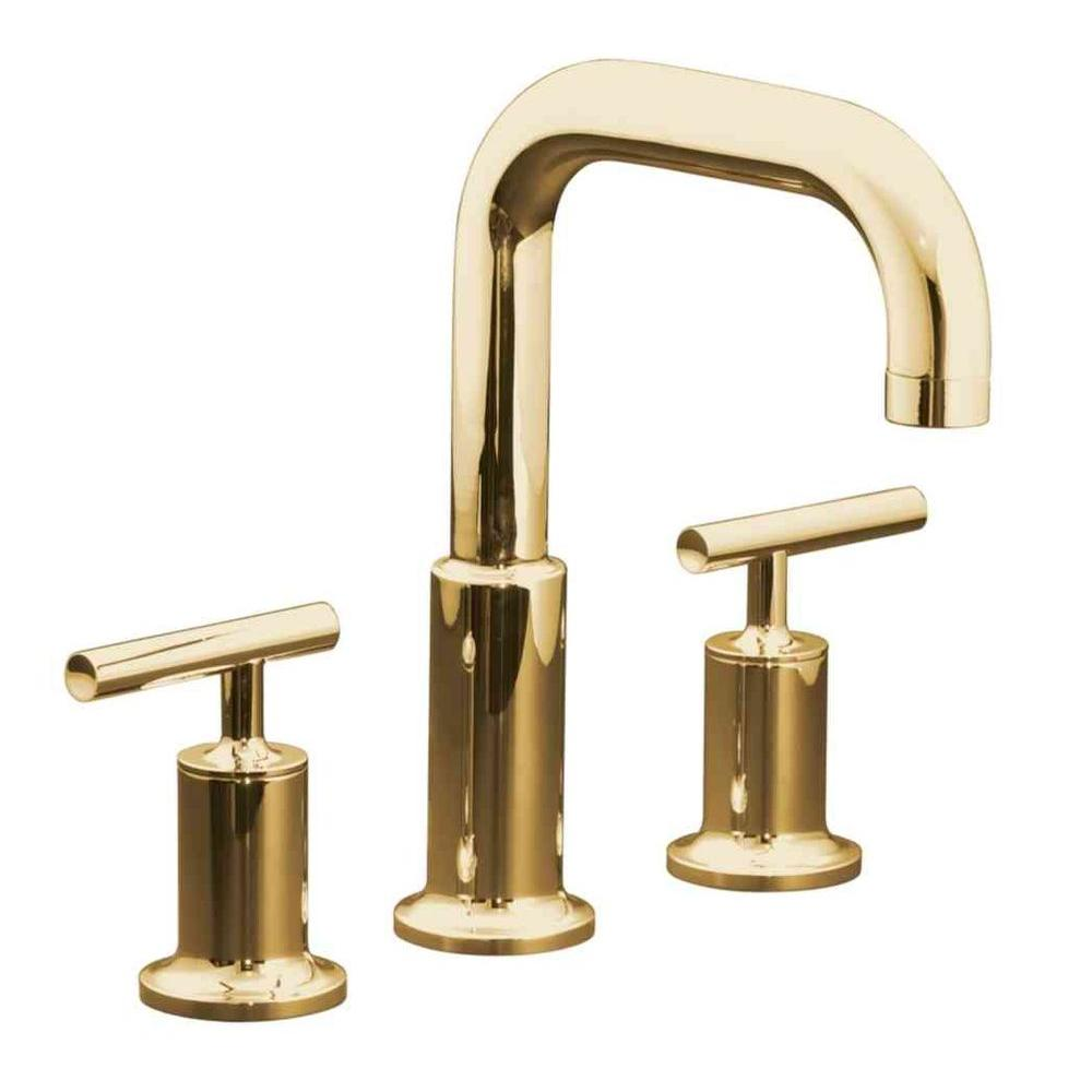 KOHLER Purist Deck Mount 8 in. Widespread 2-Handle High-Arc Bathroom Faucet Trim in Vibrant Moderne Polished Gold