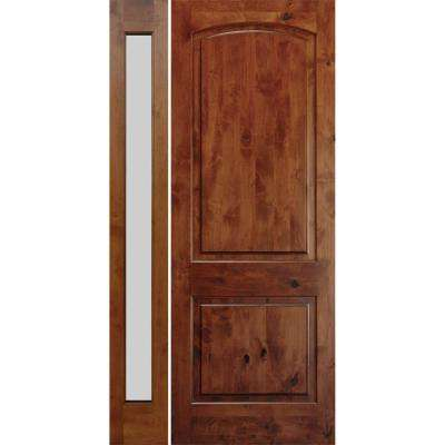 59 in. x 97.625 in. Rustic Knotty Alder Unfinished Left-Hand Inswing Prehung Front Door with Left-Hand Full Sidelite
