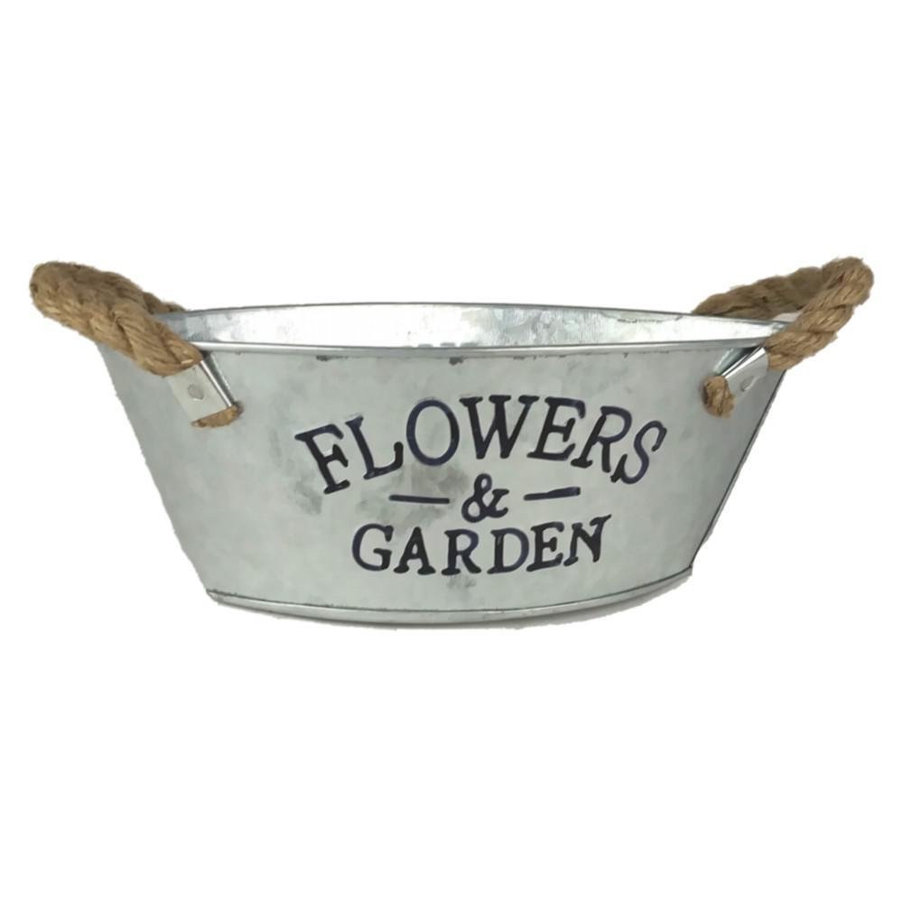 9 in. Galvanized Steel Flowers and Garden Planter