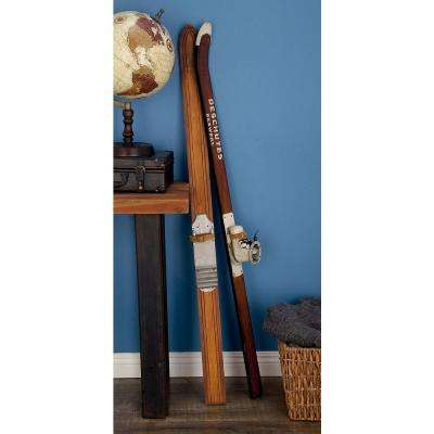 55 in. Decorative Pine Wood and Iron Ski Boot Sculpture in Stained Brown
