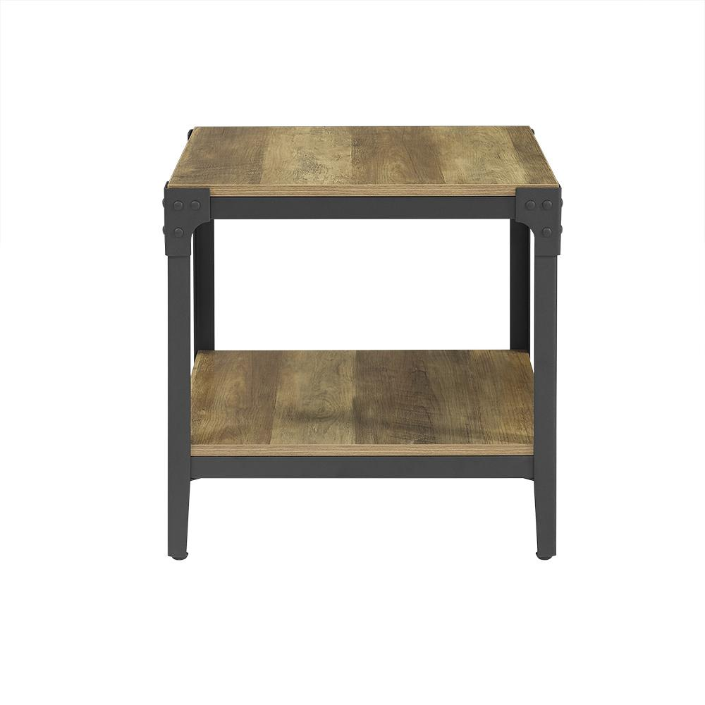 Ordinaire Walker Edison Furniture Company Angle Iron Rustic Wood End Table In Rustic  Oak (Set Of