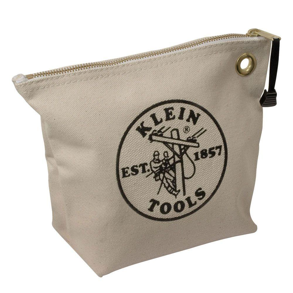 Klein Tools 10 In Consumables Natural Canvas Zipper Bag