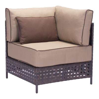 Pinery Brown Corner Patio Sectional Chair with Beige Cushion