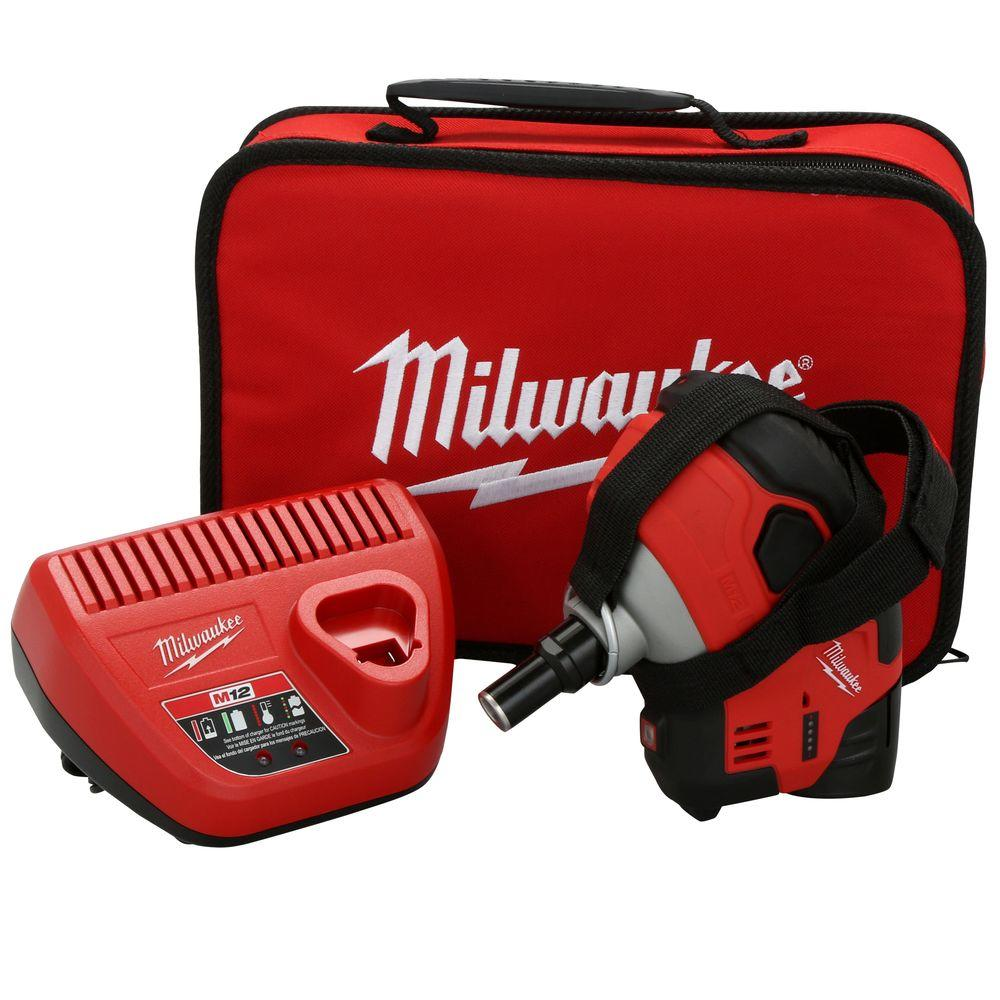 Milwaukee M12 12-Volt Lithium-Ion Cordless Palm Nailer Kit with (1)
