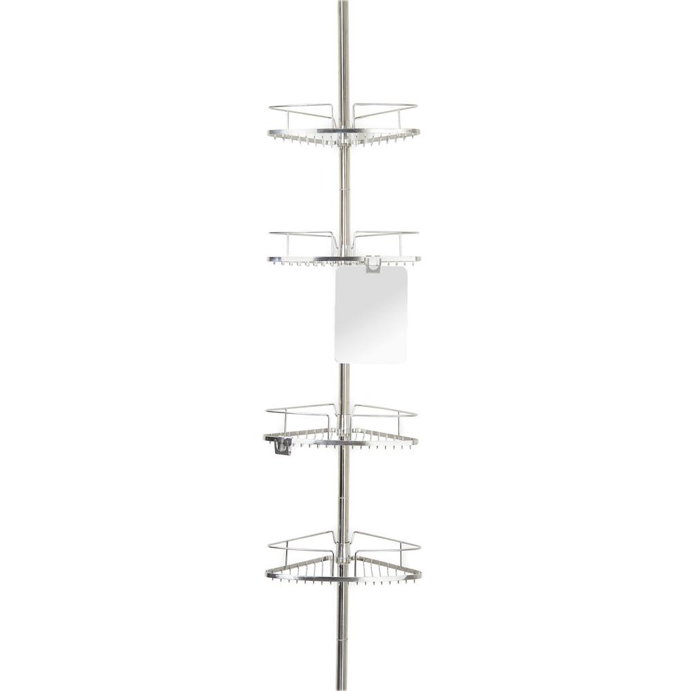Better Living Fineline 4 Tier Shower Caddy With Mirror