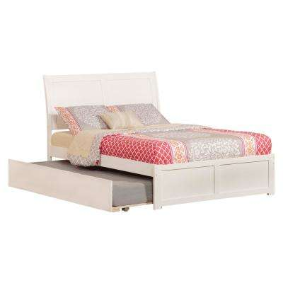Portland White Full Platform Bed with Flat Panel Foot Board and Twin Size Urban Trundle Bed