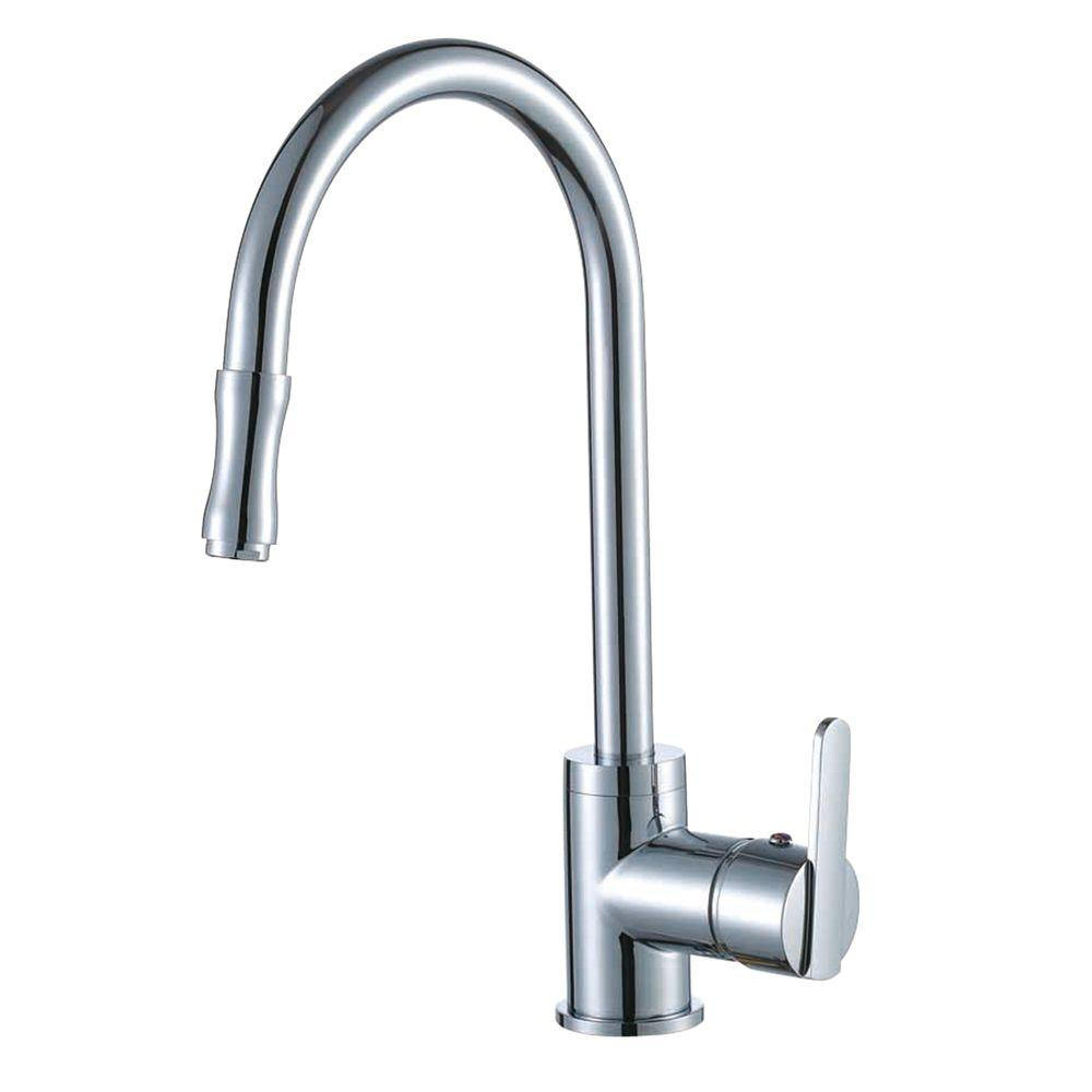 Yosemite Home Decor Single-Handle Pull-Out Sprayer Kitchen Faucet in Polished Chrome with Base Plate