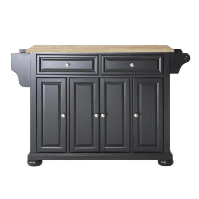 Alexandria Black Kitchen Island with Wood Top