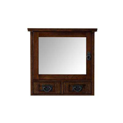 Artisan 23-1/2 in. W x 22-3/4 in. H x 8 in. D Framed Single Mirror Bathroom Storage Wall Cabinet in Dark Oak