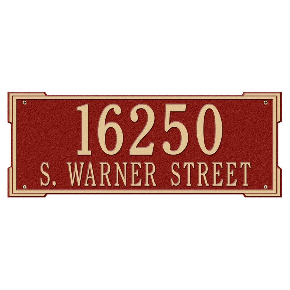 Whitehall Products Rectangular Roanoke Estate Wall 2-Line Address Plaque - Red/Gold