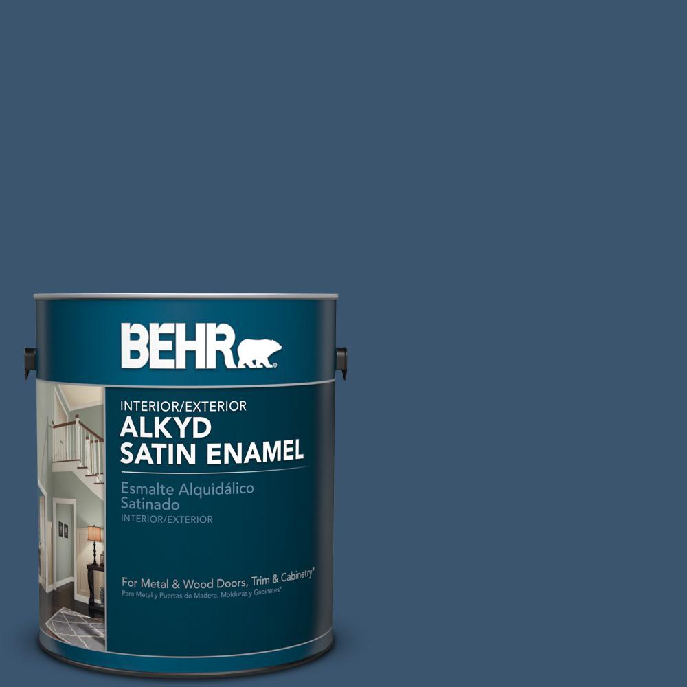 1 gal. #BXC-24 Atlantic Tide Satin Enamel Alkyd Interior/Exterior Paint