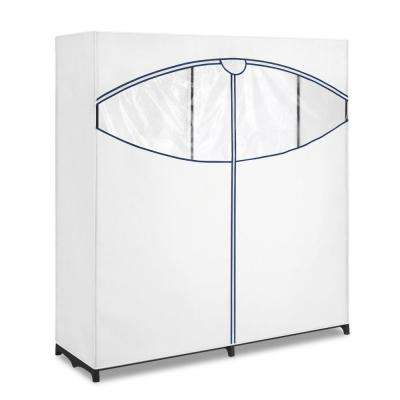 60 in. Extra Wide x 64 in. Height Garment Rack Stand and Clothes Closet in White