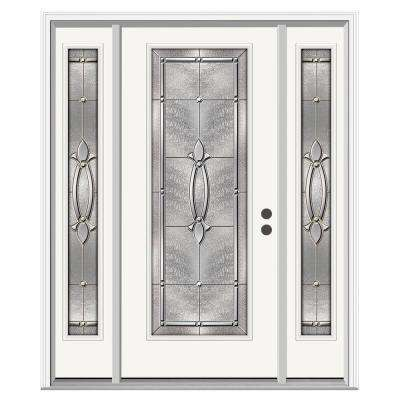 Blakely Full Lite Primed Steel Prehung Front Door With 12 In. Side Lites