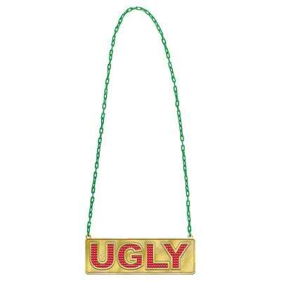 32 in. x 7.25 in. Ugly Bling Christmas Chain Link Necklace with Pendant (2-Pack)