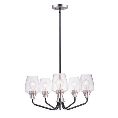 Goblet 23 in. W 5-Light Black/Satin Nickel Chandelier with Clear Shade