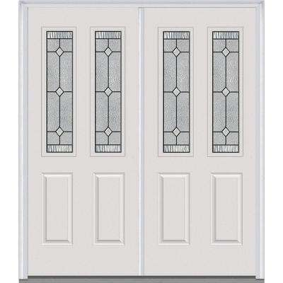 carrollton decorative glass 2 lite painted fiberglass smooth exterior