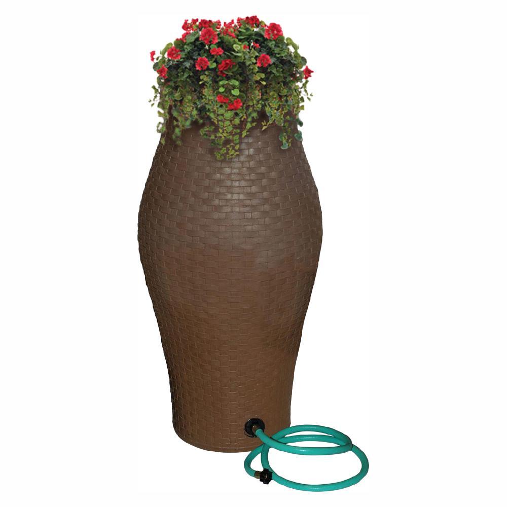60 Gal. Basket Weave Rain Barrel with Integrated Planter and Diverter Kit