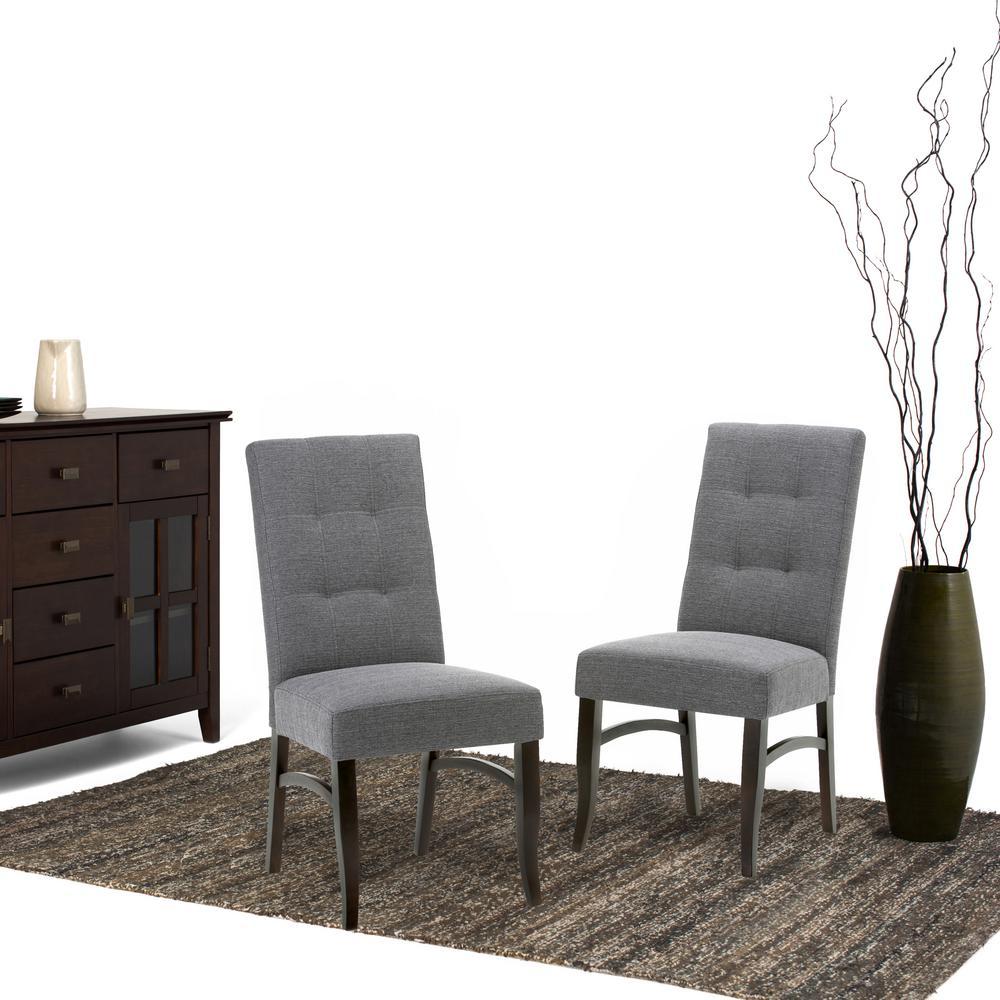 Ezra Slate Grey Fabric Dining Chair (Set of 2)