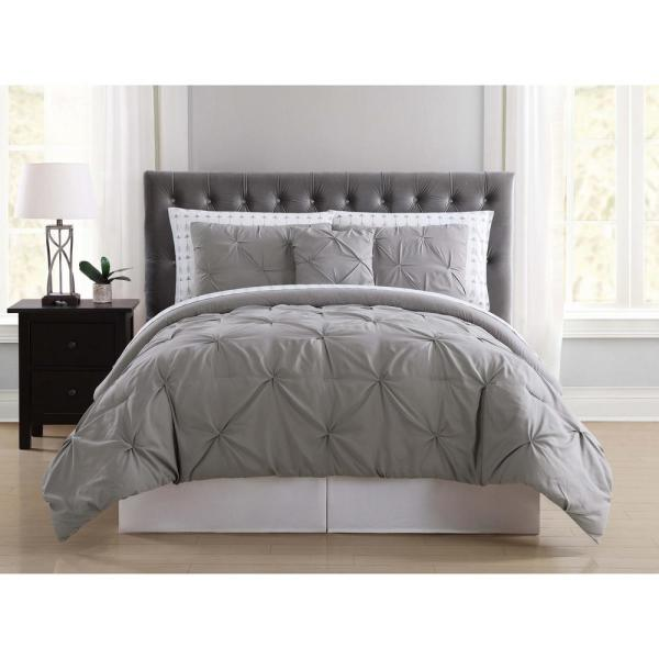 Truly Soft Arrow Pleated Grey Queen Bed in a Bag
