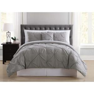 Arrow Pleated Grey Twin Bed in a Bag