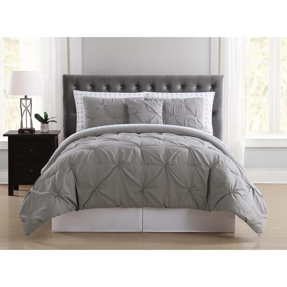 Truly Soft Arrow Pleated Grey Twin Xl Bed In A Bag