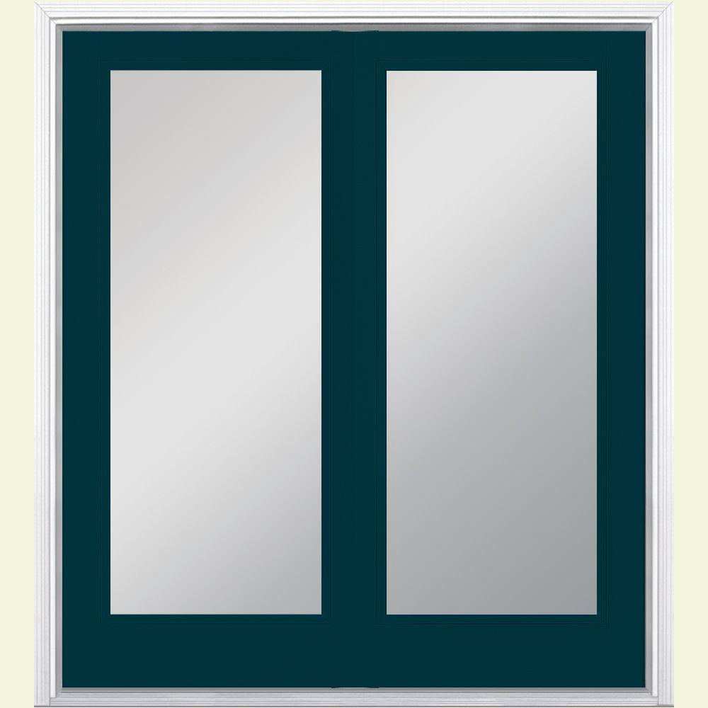 Masonite 60 in. x 80 in. Night Tide Prehung Left-Hand Inswing Full Lite Steel Patio Door with Brickmold in Vinyl Frame