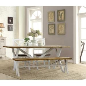Lux Home Byron Distressed White Solid Reclaimed Wood Dining ...